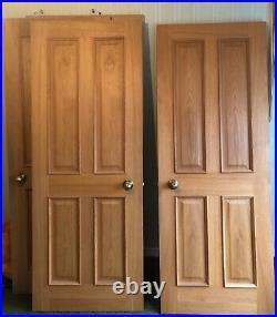 11 x Internal Oak Regency 4 Panels Raised Mouldings Doors & Brass Beehive Knobs