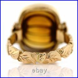 14K Gold Arts & Crafts Carved Honey Citrine Beehive Pearl Floral Dome Ring 6 VTG