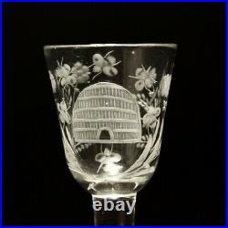 18th Century Georgian Masonic Beehive & Bee Balustroid Cordial Glass C1740
