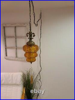 2 AVAIL Vintage Swag Lamp Amber Beehive Textured Glass MCM Hanging Light REWIRED