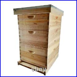 3 Layer Bees House Beekeeping Box 10 Frames Wood Complete Honey Bee Hive Kit UK