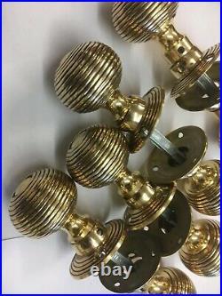 4 Pair Of Brass Beehive Door Knobs Antique Style reeded Real Brass Door Handles