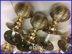 4 Pair Solid Brass Beehive Door Knob Vintage Style Reeded Brass Door Pull Handle