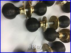 4 Pairs Black/Ebony Beehive door handle, REEDED Victorian antique style DOOR Knob