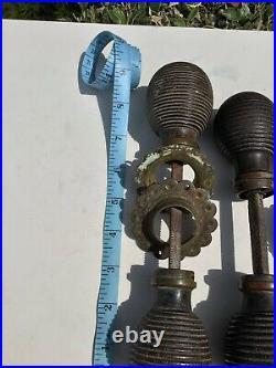 4 Pairs Of Reclaimed antique Old beehive door handles Knobs reeded wood Metal