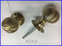 4 X Pairs Solid Brass Beehive Door Knobs reeded Vintage Brass Door Handles (4)