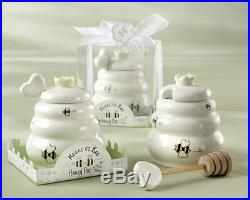 50 Meant to Bee Ceramic Honey Pot with Dipper Wedding Bridal Shower Favors