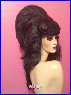 60s AMY WINEHOUSE Giant BEEHIVE Wig! Custom Costume Drag Queen Black ALL COLORS