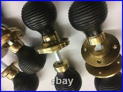 6 Pairs Black Ebony Beehive door handle, Victorian antique Type Beehive DOOR Knob