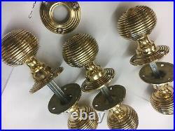 6 Pairs Brass Beehive Door Knobs Antique Vintage Style reeded Brass Door Handles