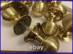 6 Pairs Of Brass Beehive Door handles Antique Style reeded beehive door Knobs