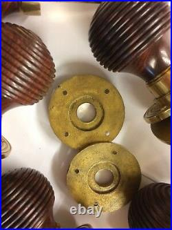 6 pairs Rosewood Beehive door handle, REEDED Victorian antique beehive DOOR Knobs