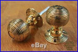 6 x Pairs of Georgian/Victorian Brass Beehive door knobs (DK1)
