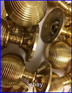 6x Pairs Brass Beehive REEDED Victorian Antique MORTICE Knob Vintage DOOR HANDLE