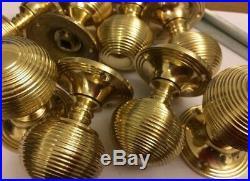 6x Pairs Brass Beehive handles Victorian Antique reeded beehive door Knob