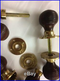 6x lots Rosewood Beehive door handles, REEDED Victorian antique beehive DOOR Knob