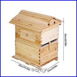 7PCS Auto Honey Hive Beehive Frames Beekeeping Natural Brood Wooden Brood Box