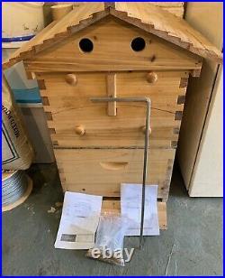 7Pcs Auto Honey Hive Beehive Frames Set + Beekeeping Brood Cedarwood Box Kit