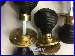 8 Pairs Black Ebony Beehive door handle, REEDED Victorian antique style DOOR Knob