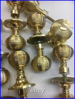 8 Pairs Brass Beehive Door handles Antique Style reeded Brass Door Rim Knobs