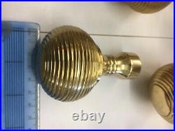 8 Pairs Brass Beehive Door handles Vintage Style reeded Mortice Brass Door Knobs