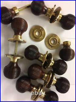 8 Pairs Rosewood Beehive door handles, REEDED Victorian antique beehive DOOR Knob