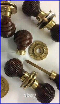 8 pairs Rosewood Beehive door handle, REEDED Victorian antique beehive Door Knobs