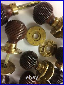 8x Pair Rosewood Beehive door handles, Victorian antique Style beehive DOOR Knobs