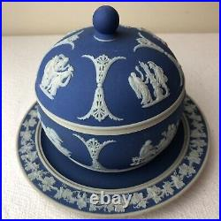 ANTIQUE WEDGWOOD Dark Blue BEEHIVE Honey Pot with LID & ATTACHED PLATE HTF Sugar