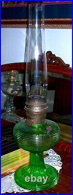 Aladdin Kerosene Oil Lamp Green Beehive Pattern with Original Chimney Vintage Rare