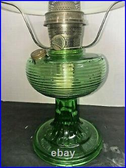 Aladdin Oil Lamp Green Beehive Lamp With Milk glass Shade, Chimney, model b burner