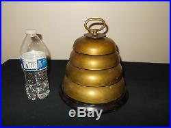 Antique 1930s/40s Brass Huge 4-Tiered Beehive Bell boxing masonic naval fire