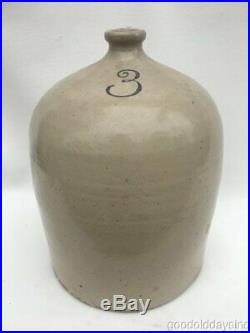 Antique 3 Gallon Beehive Stoneware Whisky Jug Redwing