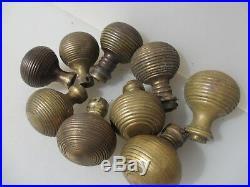 Antique Brass Beehive Door Handles Knobs Antique Old Reeded Ribbed Vintage x9