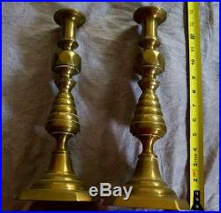 Antique Brass Candlestick Pair England #223980 Beehive 1890's Approx 13 Tall