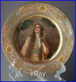 Antique Cabinet Portrait Plate Lady Mimosa Beehive Royal Vienna raised gold ornt