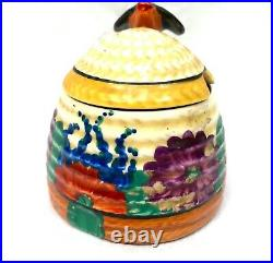 Antique Clarice Cliff Gayday Small Beehive Honey Pot / Art Deco Pottery c1931