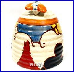 Antique Clarice Cliff Summerhouse Large Beehive Honey Pot / Art Deco Pottery