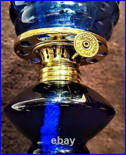Antique Cobalt Blue Miniature Stand Oil Lamp Beehive Shade Acorn Burner Working