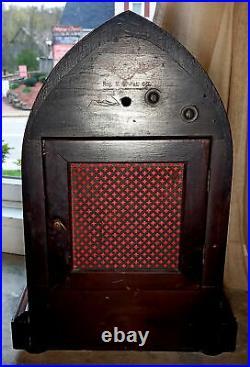 Antique German Kienzle Shelf Clock, Beehive Wood Case Westminster Chimes