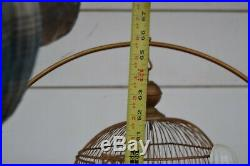 Antique Hendryx Brass Bee Hive Bird Cage with Stand