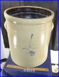 Antique Large Cobalt Blue Bee Sting Beehive Stoneware Handled Crock 6 Gallon