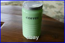Antique Large Jeannette Green Jadeite Coffee Canister Jar Beehive Ribbed