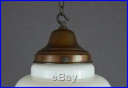 Antique Opaline White Glass Beehive Shaped Pendant Light Rewired