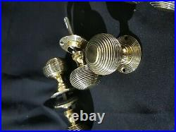 Antique Pair of 6 Original Victorian Brass Beehive Style Door Knobs (PFH137)