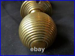 Antique Pair of Victorian Brass (Beehive) Door Knobs (EB242)