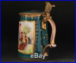 Antique Porcelain Beer Stein Royal Vienna Beehive Mark Rinaldo/Armida c. 1870s