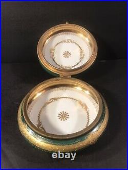 Antique Porcelain Box/ Raised Gold/ Royal Vienna/ Austria C. 1880/ Beehive Mark
