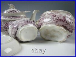 Antique Purple Staffordshire Beehive pattern Partial Childs Tea Set c. 1835