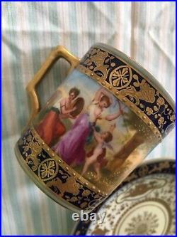 Antique Royal Vienna Beehive Mark Demitasse Mythology Scenes Gilded Cup & Saucer